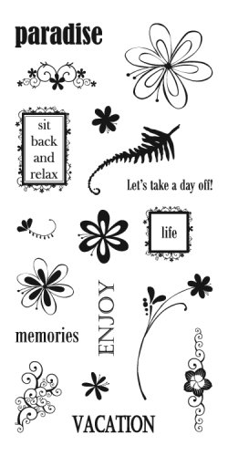 Fiskars 01-002266 Heidi Grace 4-by-8-Inch Clear Stamps, Paradise