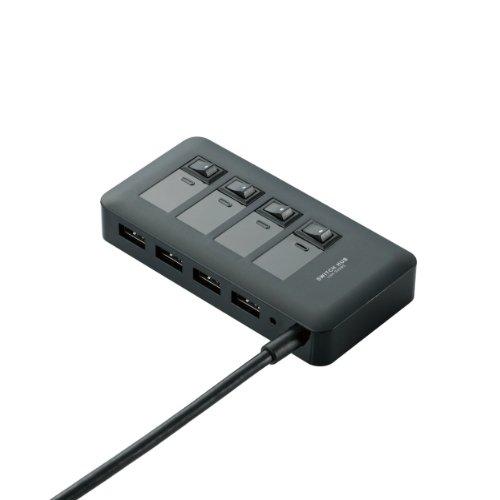 ELECOM USB3.0ハブ ACアダプター付き マグネット搭載で固定可能 電源ON-OFFスイッチ 4ポート ブラック U3H-S409SBK