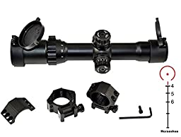 SNIPER® Rifle SCOPE 1-4X28, Compact Scope, Horse shoe, One Piece, Black Matte Finish, Quick Lock and Adjustment