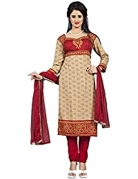 Lady Loop Women's Cotton Salwar Suit Dress Material (ayesha Chiku__Beige_Free Size)