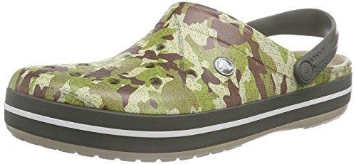 Crocs Crocband Camo, Crocs da Adulto, Unisex, Colore Verde (Dusty Olive 3J5), Taglia 43-44 EU