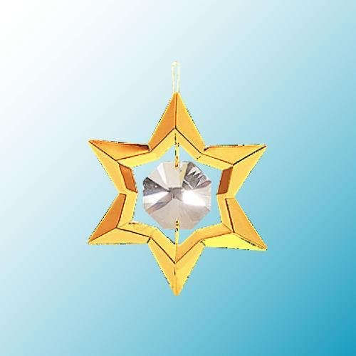 24K Gold Plated Hanging Sun Catcher Or Ornament..... Star With Clear Swarovski Austrian Crystal front-614175