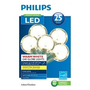 Philips G40 String Lights : Amazon.com : Philips Clear Globe LED String Lights Set of 25 G40 Bulbs Indoor / Outdoor : Patio ...