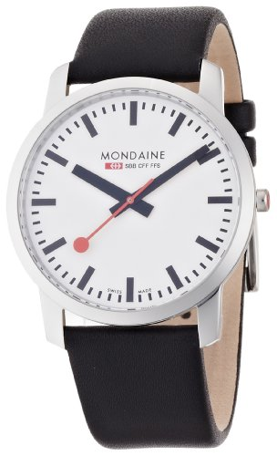 Mondaine Men's Watch A672.30350.11SBB with White Round Dial and a Black Leather Strap