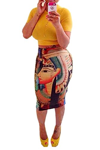 [Women's Summer Outfits Bodycon Egypt Cleopatra Print 2 Pieces Skirt Set (Medium, yellow)] (Cleopatra Outfit)