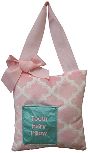 Caught Ya Lookin' Tooth Fairy Pillow, Pink Quatrefoil Minky, White