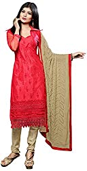 Shyam Fab Women's Net Dress Material (Red)