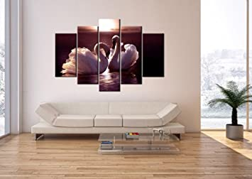 impression sur toile 150x100 cm image sur toile 5 parties encadr e prete a. Black Bedroom Furniture Sets. Home Design Ideas