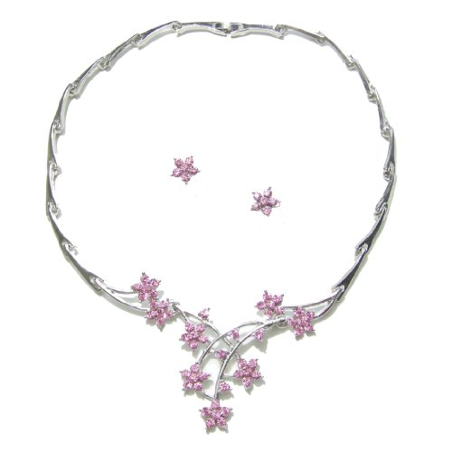 C42 - Pink Crystal Diamante Floral Necklace Earrings Wedding Bridal Jewellery Set
