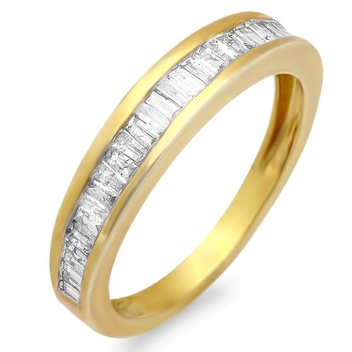 0.50 Carat (ctw) 18k Yellow Gold Plated Sterling Silver Baguette Diamond Ladies Anniversary Ring Stackable Wedding Band