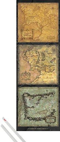 Poster + Sospensione : Il Signore Degli Anelli Door Poster (158x53 cm) Maps Of Middle Earth e Coppia di barre porta poster trasparente 1art1®