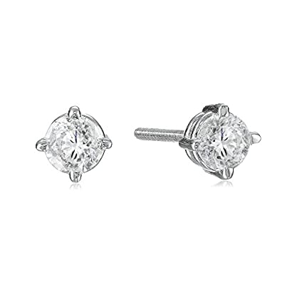 Prism Jewel 0.25 Carat Round Green Diamond Screw Back Prong Set Stud Earrings 10k White Gold