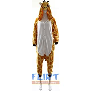 Fashion Wardrobe ONESIE Adult Pyjamas ANIMAL ZOO FANCY DRESS (UK 6-8 Small, Giraffe W403)