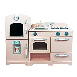 Teamson Kids Retro Wooden Play Kitchen With Refrigerator Freezer Oven And