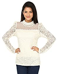 1410 Long Sleeve Pearl Neck Net O-Neck Lace Top (Medium, Apricot)