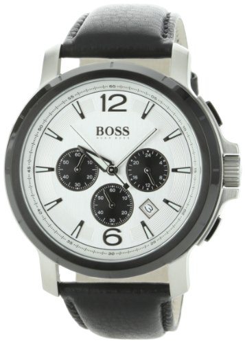 Hugo Boss Mens 1512456 H2001 Chronograph Silver Dial Leather Strap Watch