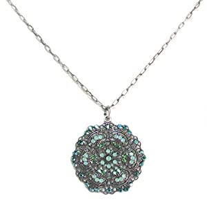 Catherine Popesco Sterling Silver Pacific Opal, Teal, and Marine Swarovski Crystals Round Filigree Pendant Necklace