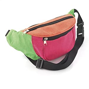 Bright Neon Multi-Coloured Fabric Bum Bag / Fanny Pack - Festivals /Club Wear/ Holiday Wear