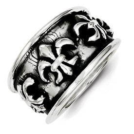 Genuine IceCarats Designer Jewelry Gift Sterling Silver Antiqued Fleur De Lis Ring Size 7.00