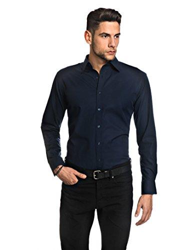embrær Camicia da uomo Slim Fit, Ferro a maniche lunghe tinta unita Dark Blue 44 cm