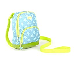 Nuby  2 in 1 Quilted Backpack Harness, Turquoise Stars, Child Leash, Baby Walking Safety Harness, Kid Backpack with Tether, Toddler Travel, Wrist Leash