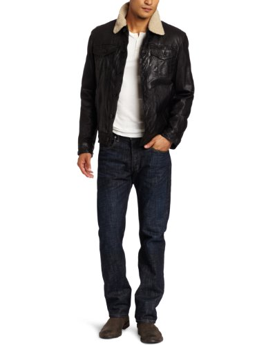 Levi's Men's Leather Trucker Jacket  Sherpa