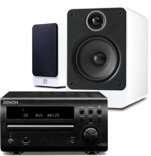 Denon RCD-M39DAB (Black) Micro CD Receiver System with Q Acoustics 2010i Speakers (Gloss White). Includes 5 metres Chord Leyline High Performance Speaker Cable