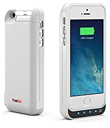 PowerBear iPhone 5SE / iPhone 5S / iPhone 5C / iPhone 5 [Stamina Series] Extended Rechargeable Battery Case with Built in USB PowerBank with 4000mah Capacity (Up to 250% Extra Battery) - White [24 Month Warranty and Screen Protector Included]