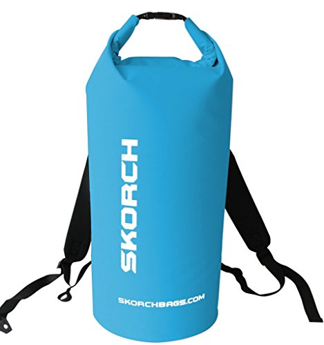 SKORCH Original Waterproof Backpack Dry Bag 30 litres. Protects Your Gear From Water and Dirt While You Have Fun. Beach, Kayak, Paddle Board, Camping, Sailing and Skiing. (Turquoise with White) (Roof Rack Pads White compare prices)