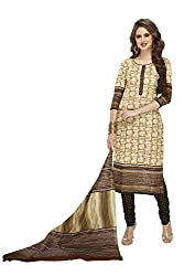 PShopee Khadi Cream & Black Cotton Printed Unstitched Salwar Suit Dress Material