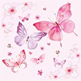 'Gentle Butterflies - rosa' - Pack of 20 paper napkins - 33x33cm - 3ply - Butterflies Decoupage Shabby Chic