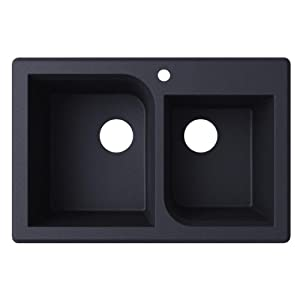Swanstone QZRC-3322.077 Drop-in Double Bowl Sink, 33-Inch x 22-Inch, Nero