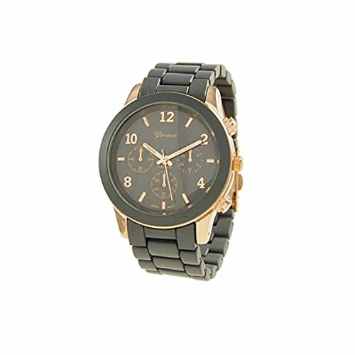 """The """"Boyfriend"""" Watch. Large Sized Ceramic Designer Style Fashion Watch With Blue Band Blue Face Gold Trim"""