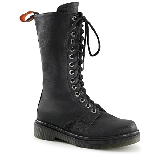 Women Combat Boots Mid Calf Black Vegan Boot with Lace Up Front and 1.25'' Heel