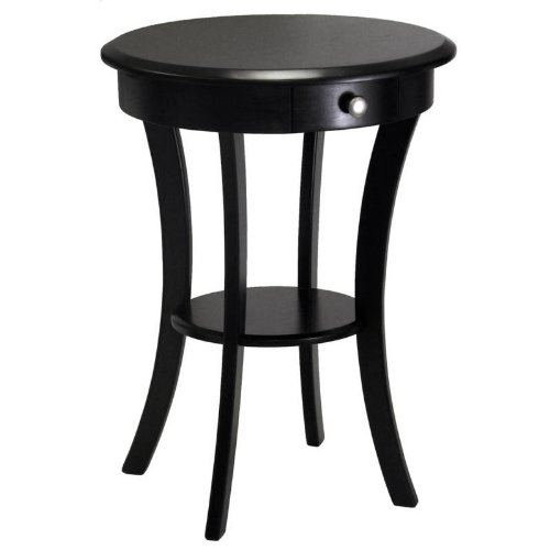winsome-wood-round-table-with-drawer-and-shelf-black