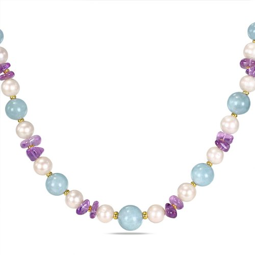 Sterling Silver 51 CT TGW Aquamarine and Amethyst FW White Pearls Necklace (18 in)
