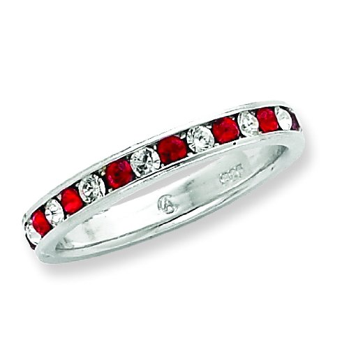 Sterling Silver Red & White CZ Eternity Band. Metal Weight- 1.75g.