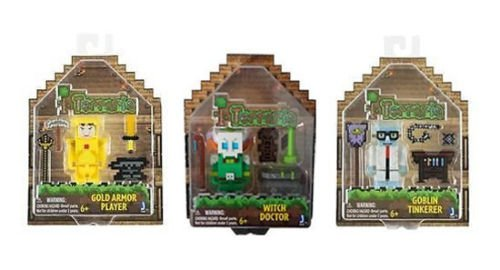 Jazwares Set of 3 Terraria Figures - Gold Armor Player/ Witch Doctor/ Goblin