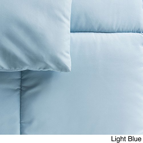 Cheer Collection All Season Luxurious Down Alternative Hypoallergenic Solid Light Blue Comforter, Full/Queen (Down Alternative Baby Comforter compare prices)