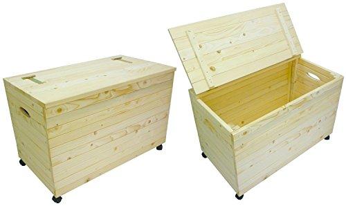 Cassapanca Mobile Baule Box in legno con ruote porta oggetti biancheria legna giocattoli utensili