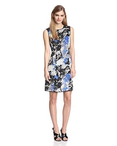 Marc New York Women's Sleeveless Printed Lasercut Dot Sheath Dress
