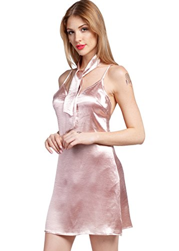 Wink Gal Women's Slash Neck Cami Slip Dress ROSE GOLD M