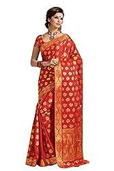 Srinidhi Silks Orange Raw Silk Sari (Ssi Tulsi 2601)