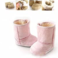 Soft Sole Toddler Baby Girls Princess Warm Snow Boots Chamois Shoes (3-6 months, Pinks)
