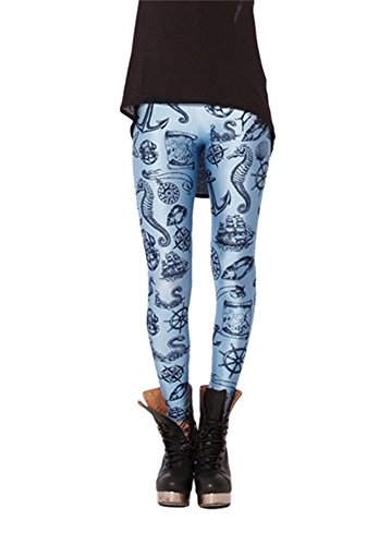 Women'S Fashion Digital Print Falsh Voyager Pattern Sexy Leggings(Baby Blue)
