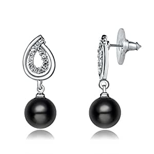 amazoncom viola shop ninabox black pearl dangle earrings