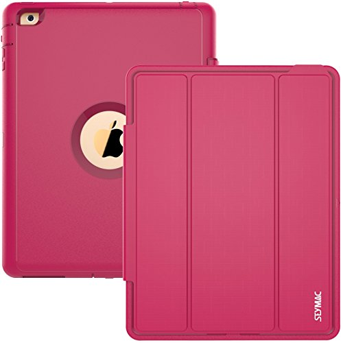 iPad Case, iPad 2 3 4 Case, SEYMAC Three Layer Drop Protection Rugged Protective Heavy Duty iPad Case with Magnetic Smart Auto Wake / Sleep Cover for Apple iPad 2/3/4 (Rose) (Original Ipad Case Protective compare prices)