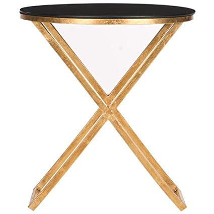 Safavieh Home Collection Riona Gold andBlack Glass Top Accent Table
