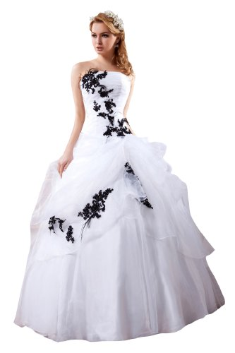 Honeystore Women's Floor Length Strapless with Appliques Wedding Gowns Size US2/UK6/EUR32 Color White and Black