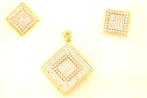 Fashion Balika Fashion Jewelry Gold-Plated Pendant Set For Women Gold-BFJER147 (Yellow)